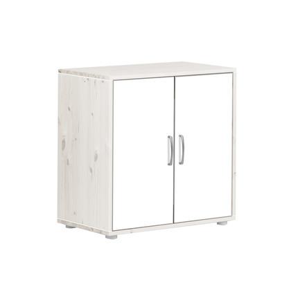 Szafka z 2 drz i 1 półką.Korpus bielony, fronty białe, paski białe,wym72x43,5x72
