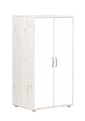 Szafa mała, 2D. Korpus bielony, fronty białe, paski białe wym:72x56,5x133