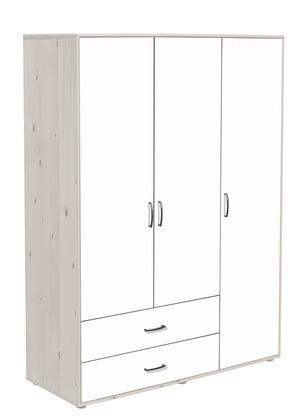 Szafa 3D, korpus bielony, fronty białe, paski białe, 150x56,5x200