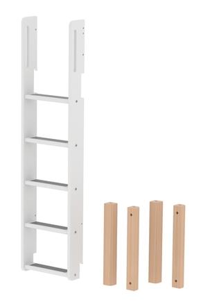 Drabinka prosta i nogi łączące do łóżka piętrowego MAXI wysokiego,biała/brzozowe