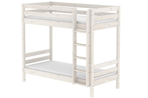 Łóżko piętrowe MAXI wysokie krótsze Classic z prostą drabinką, sosna, lakier bie