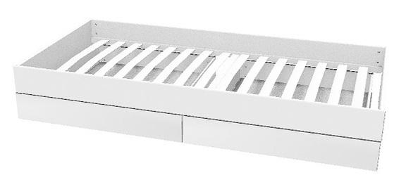 ŁóżkoTrundle MDF wysuwane z 2 szufladami,materac 190x90cm, MDF, biały/brzoza