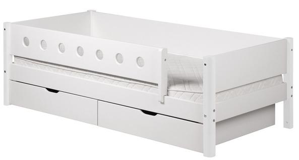 Łóżko MDF krótsze z poręczami zabezpieczającymi i 2 szufladami,