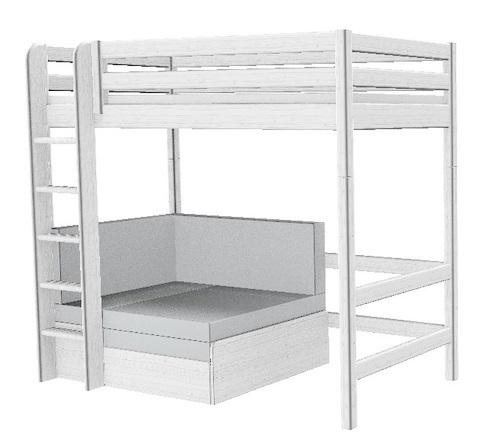 Łóżko wysokie Classic z prostą drabinką, sofą dla gościa, bielone; 185x210x110/1