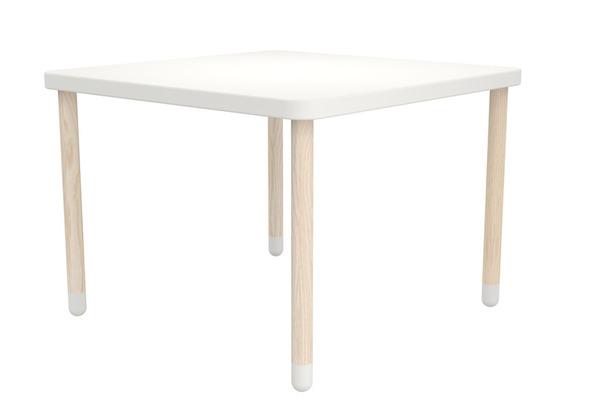 Stolik kwadratowy, biały. Wykonany z drewna jesionowego i MDF., 100x100 cm