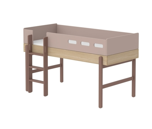 Łóżko średniowysokie z prostą drabinką, Popsicle, WIŚNIA