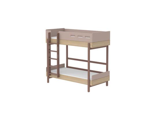 Łóżko piętrowe podwójne prosta drabinka, rama lity dąb, WIŚNIA