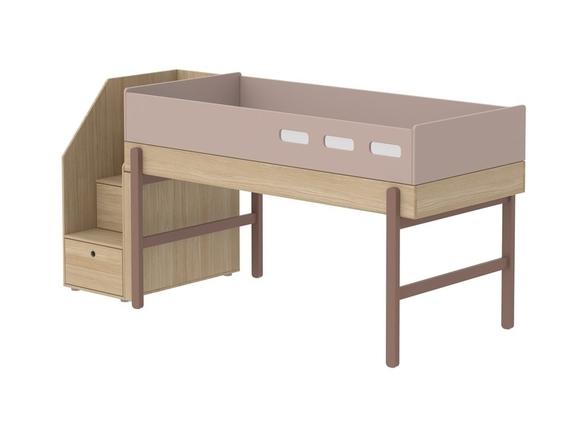 Łóżko średniowysokie ze schodami, potrzebny materac 200x90cm WIŚNIA