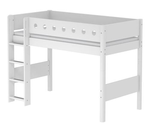 Łóżko półwysokie MDF , drabinka prosta, białe/biały/biała, pauje materac200x90,