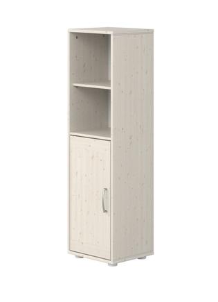 Moduł z 1D i z 3 półkami, 135x38x34,5cm,  sosna bielona/fronty bielone /  białe