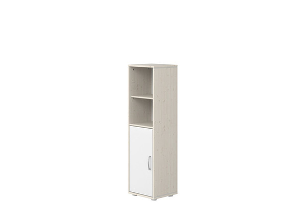 Moduł z 1D i z 3 półkami, 135x38x34,5cm, sosna bielona/ fronty i paski białe