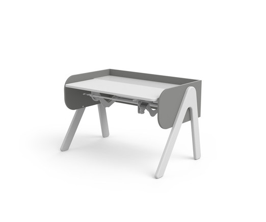 Białe biurko dla dzieci - Woody, sosna biała, szare ścianki (55/83x120x70cm)