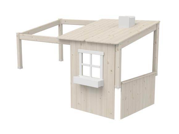 Domek-nadstawka 1/2 domku na krótsze łóżko Classic, wymiar 129x200x112cm, bielon