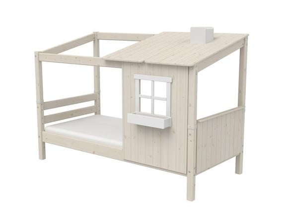 Łóżko niskie Classic z DOMKIEM 1/2, sosna bielona, 154x210x129,5cm