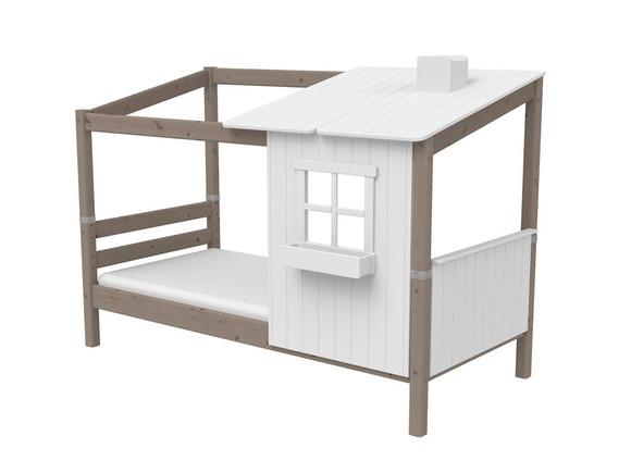 Łóżko niskie Classic z DOMKIEM 1/2, sosna, lakier terra.