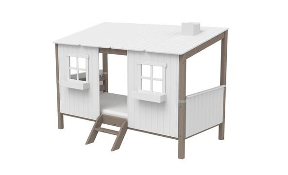 Łóżko niskie Classic z pełnym DOMKIEM i z drabinką niską, sosna lakier terra.