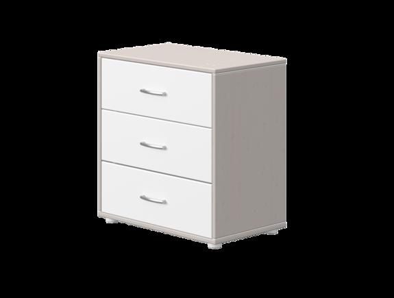Komoda z 3 szufladami, sosna, mechanizm samodomykania, korpus szary, fronty biał