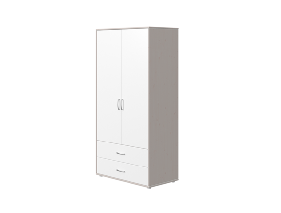 Szafa 2D, 2 szuflady, 3 półki, 2 relingi, korpus szary, fronty białe, paski biał