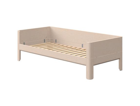 Łóżko Birk z zagłowkami i tylną poręczą, niskie, lita brzoza, naturalna, potrzeb