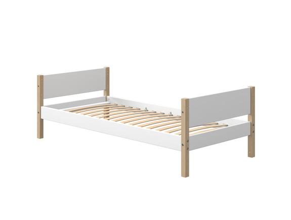 Łóżko pojedyncze NOR z nogami z litego dębu, MDF.
