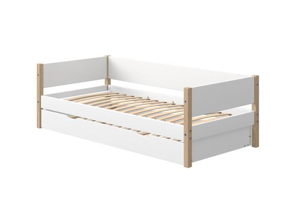 Łóżko NOR z łóżkiem wysuwanym na miękkich kółkach  MDF, nogi lity dąb.