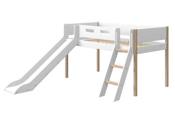 Łóżko średniowysokie NOR z pochyłą drabinką, poręczami i zjeżdżalnią, nogi z lit