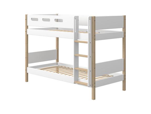 Łóżko piętrowe NOR z prostą drabinką, nogi wykonane z litego dębu, rama MDF,