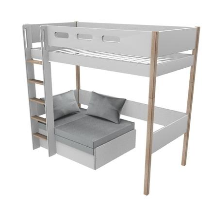 Łóżko wysokie NOR  z sofą z materacem, drabinka prosta, MDF i lity dąb,