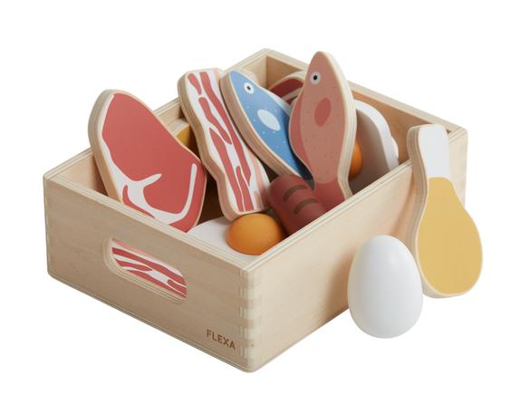 Zestaw zabawek do kuchenki: ryby, mieso i jaja, 16 szt
