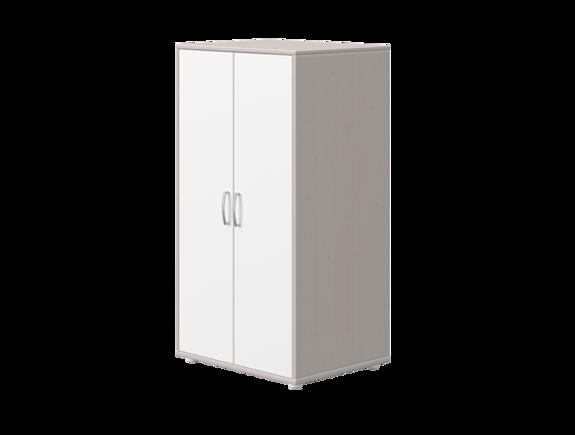 Szafa mała z 2 drzwiami, sosna szara, fronty białe MDF