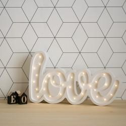 Lampka LED LOVE, sosna, biały, wym 27x46x5,5cm