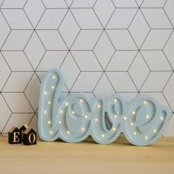 Lampka LED LOVE, sosna, niebieskia, wym 27x46x5,5cm,