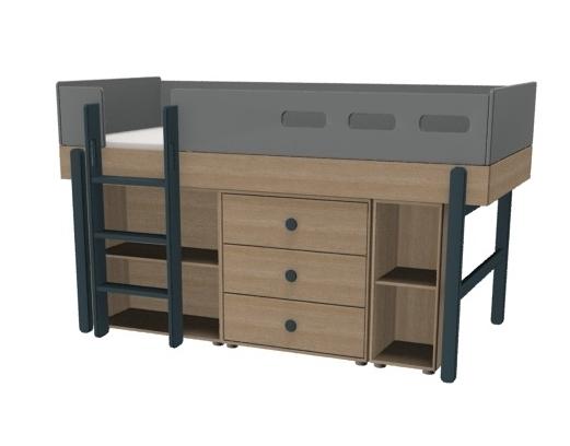 Łóżko średniowysokie z prostą drabinką, JAGODA,  POPSICLE,z zestawem szafek: