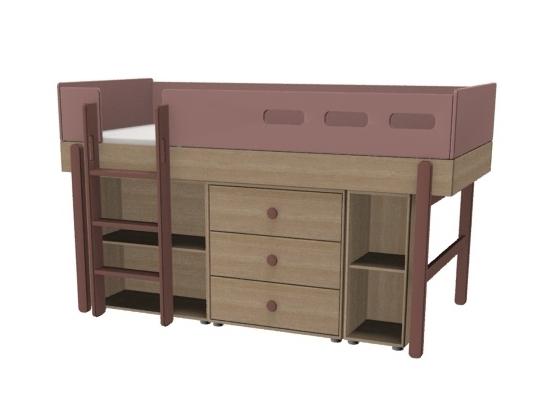 Łóżko średniowysokie z prostą drabinką, POPSICLE, WIŚNIA z zestawem szafek