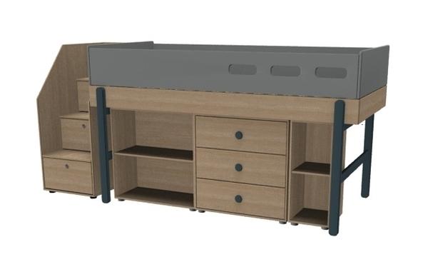 Łóżko średniowysokie ze schodami i z zestawem szafek, JAGODA, POPSICLE