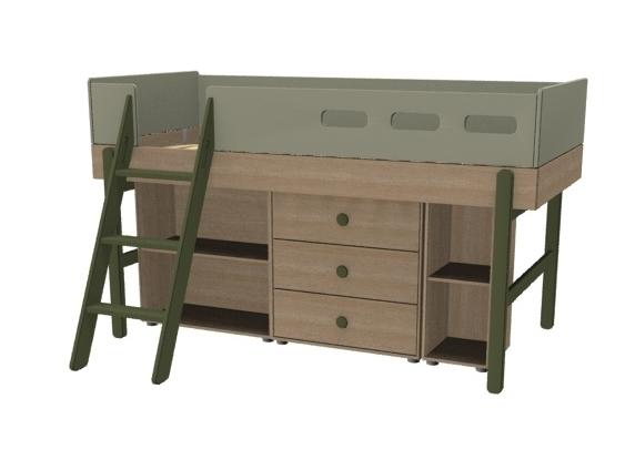 Łóżko średniowysokie z pochyłą drabinką z zestawem szafek, KIWI, POPSICLE
