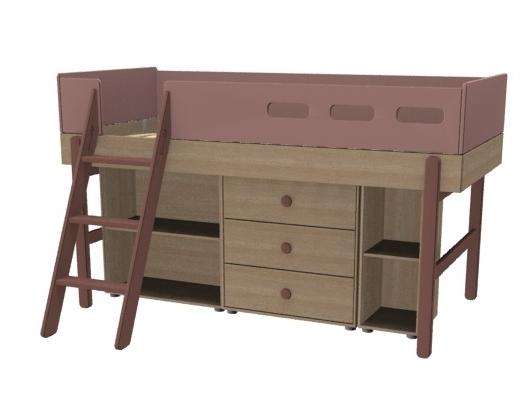 Łóżko średniowysokie z pochyłą drabinką z zestawem szafek, WIŚNIA, POPSICLE