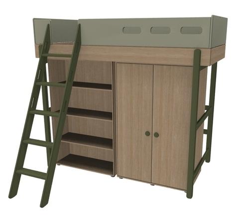 Łóżko wysokie z drabinką pochyłą z szafą i regałem pod łóżkiem, KIWI, POPSICLE