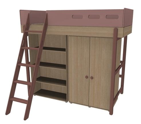 Łóżko wysokie z drabinką pochyłą z szafą i regałem pod łóżkiem, WIŚNIA, POPSICLE